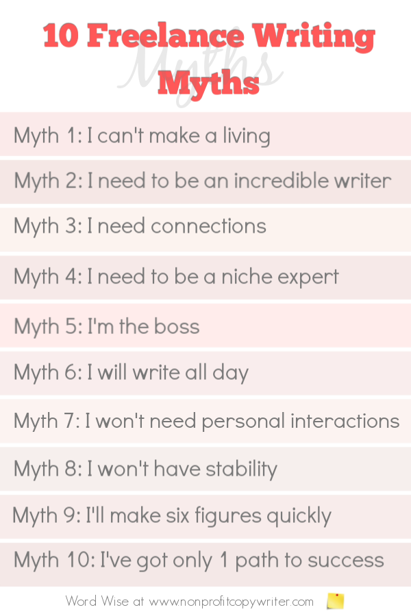10 freelance writing myths with Word Wise at Nonprofit Copywriter #FreelanceWriting