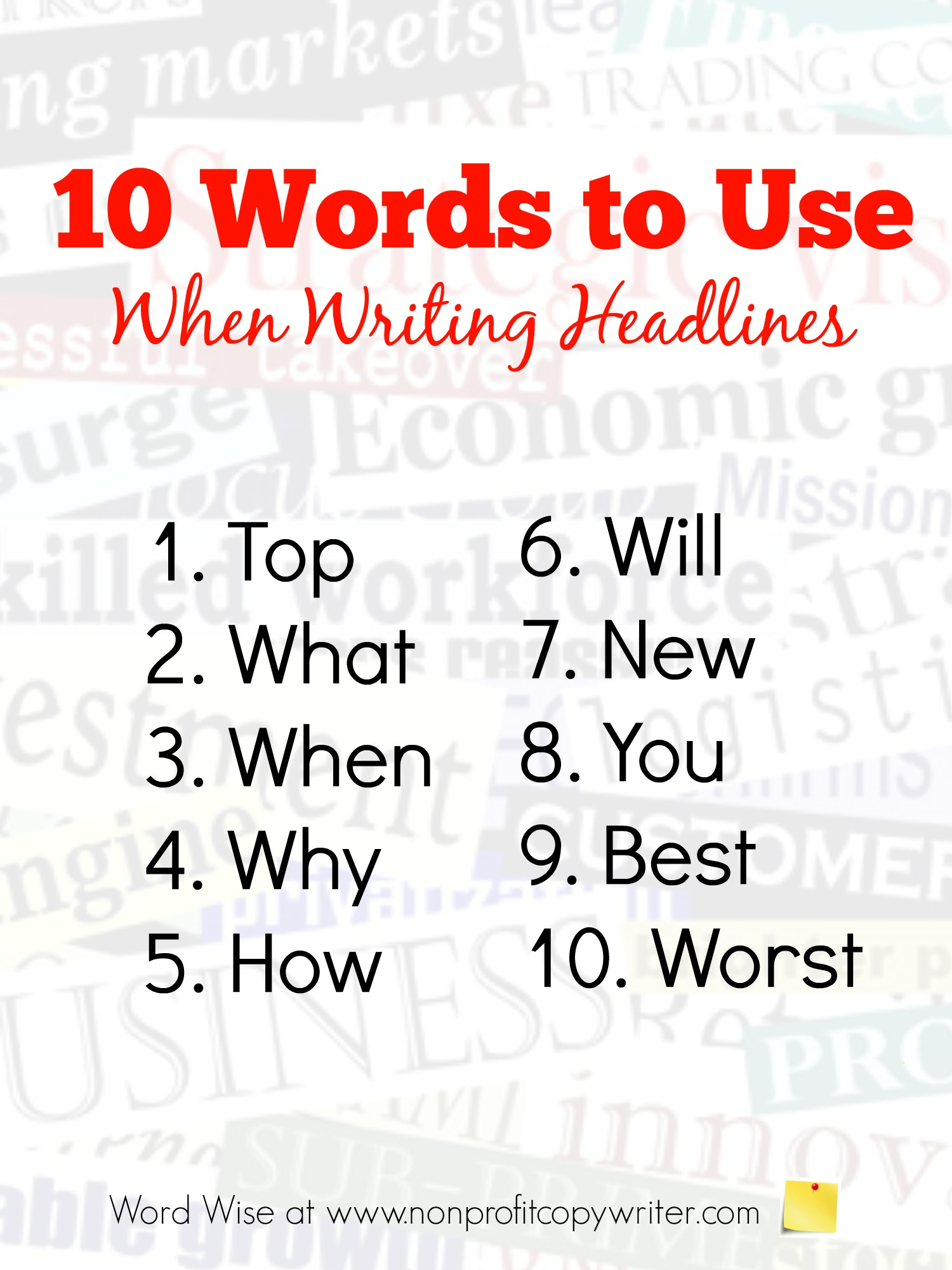 10 words to use when writing headlines with Word Wise at Nonprofit Copywriter