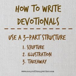 How to write devotionals: use a 3-part structure. With Nonprofit Copywriter