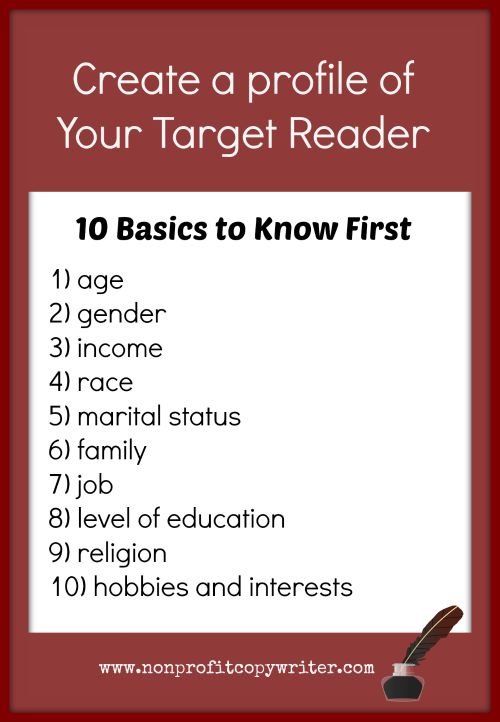Create a profile of your target reader: the basics