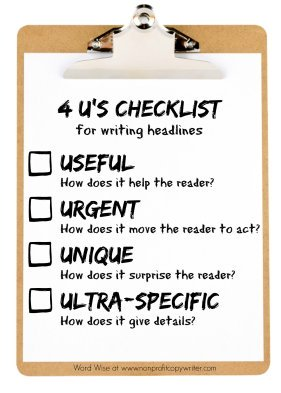 4 U's checklist for writing powerful headlines at Word Wise: Nonprofit Copywriter