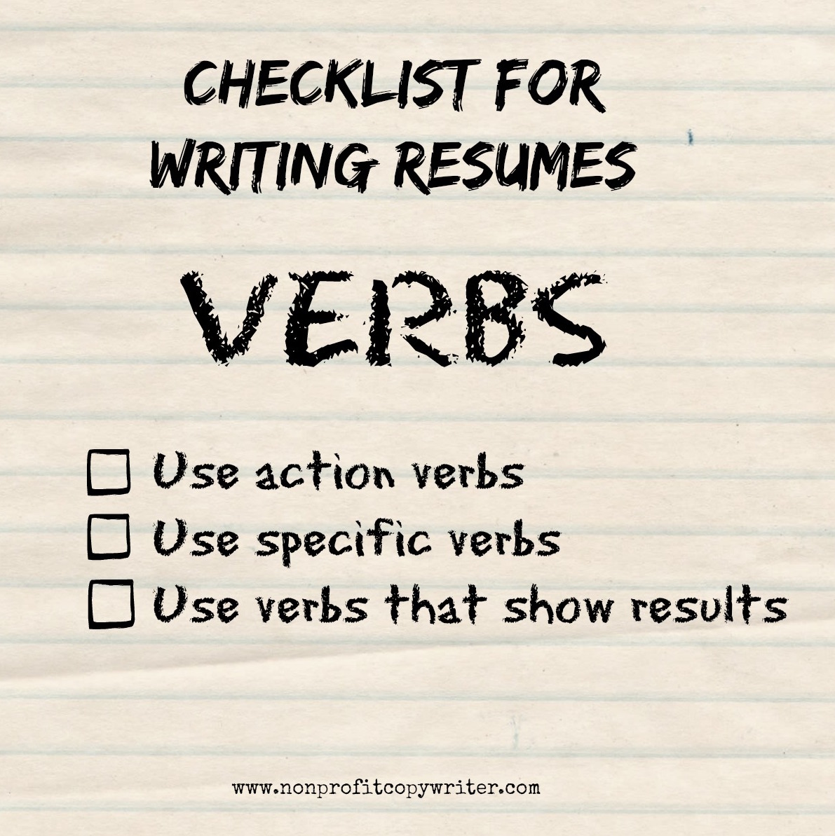 Resume Writing Guide for Verbs from Nonprofit Copywriter