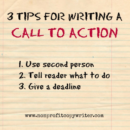 3 tips for writing a call to action from Nonprofit Copywriter