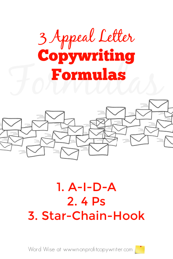 3 appeal letter copywriting formulas with Word Wise at Nonprofit Copywriter. #WritingTips #FundraisingWriting #FreelanceWriting