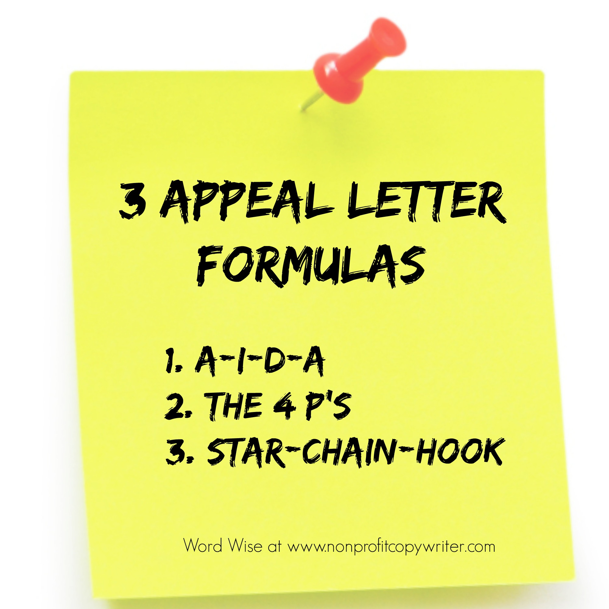 3 appeal letter copywriting formulas with Word Wise at Nonprofit Copywriter