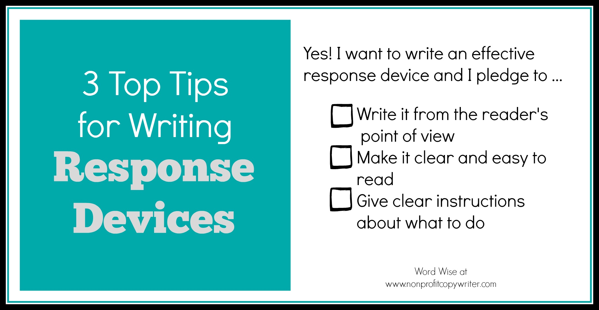 3 tips for writing effective response devices with Word Wise at Nonprofit Copywriter