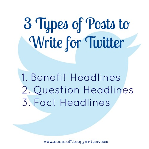 3 types of posts to write for Twitter from Nonprofit Copywriter
