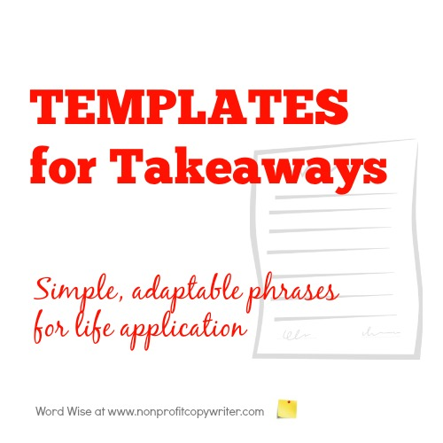 Templates for takeaways with Word Wise at Nonprofit Copywriter