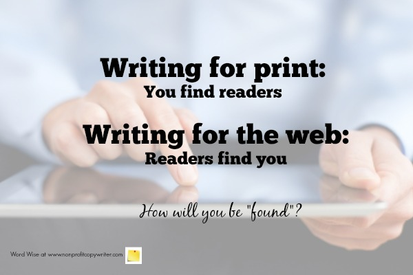 Web writing vs. writing for print with Word Wise at Nonprofit Copywriter