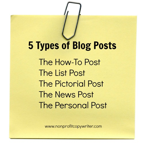 5 Types of Blog Posts from Nonprofit Copywriter