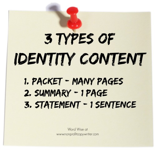 3 types of identity content with Word Wise at Nonprofit Copywriter