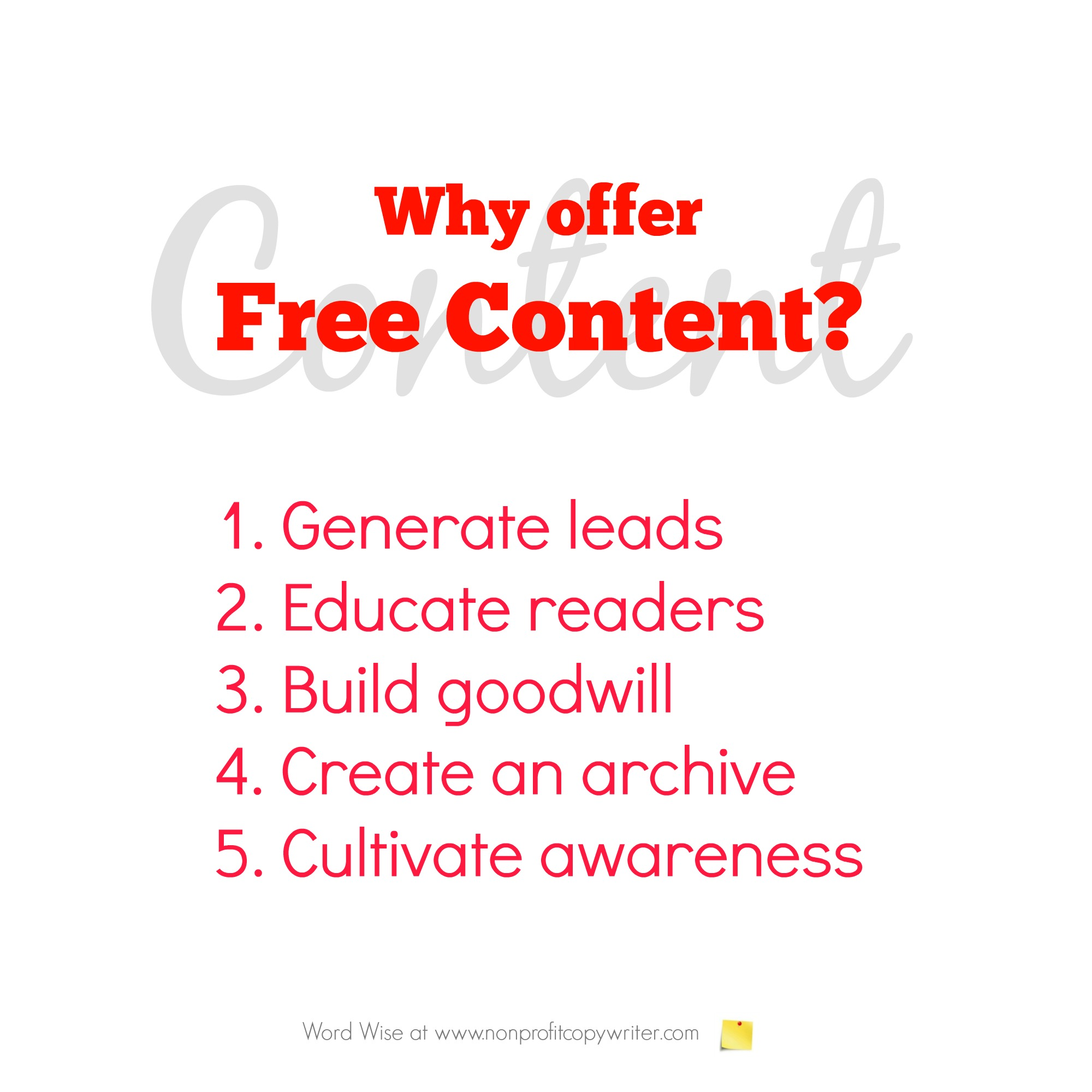 Why offer free content? With Word Wise at Nonprofit Copywriter