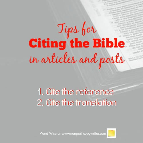 Tips for citing the Bible with Word Wise at Nonprofit Copywriter