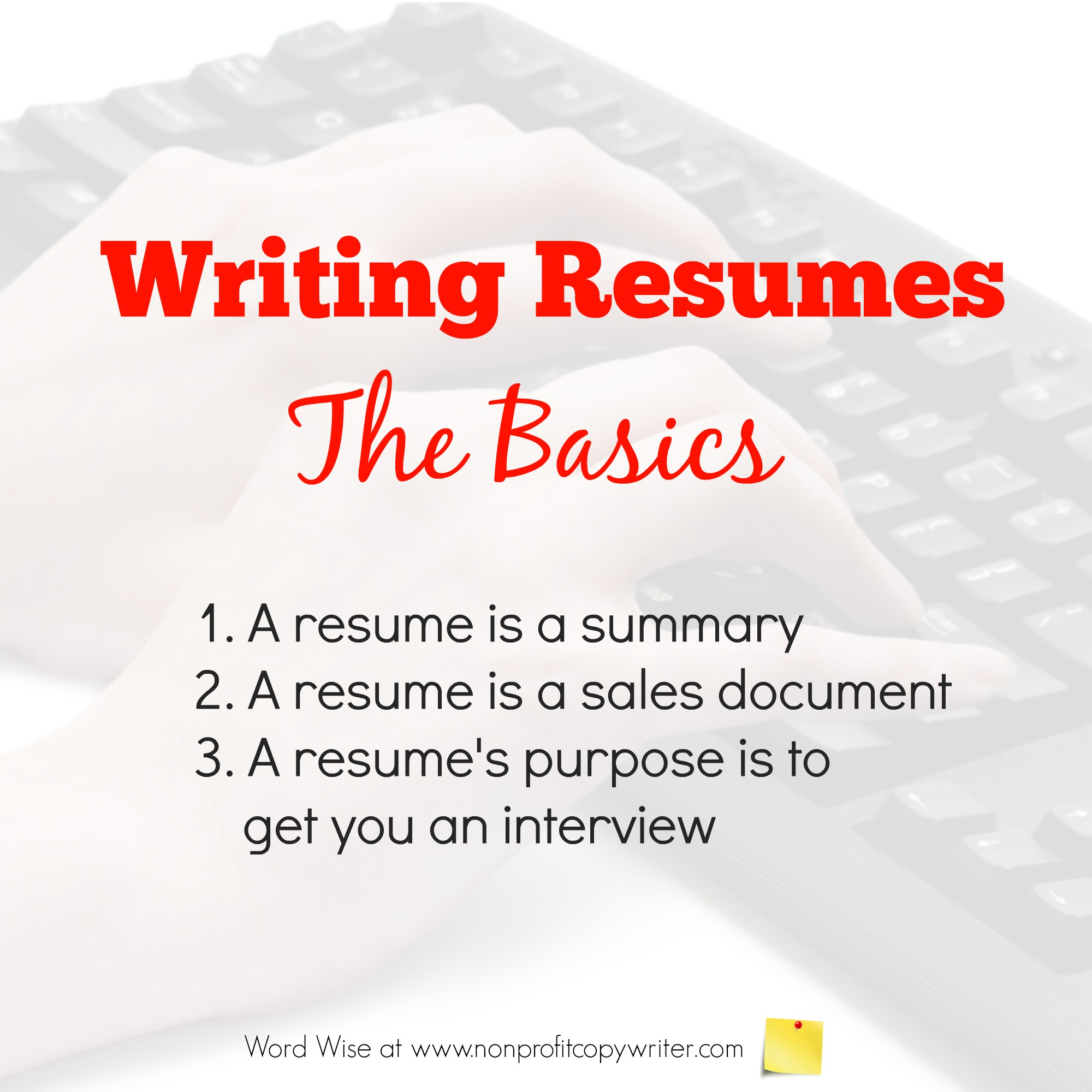 Writing Resumes: the basics with Word Wise at Nonprofit Copywriter