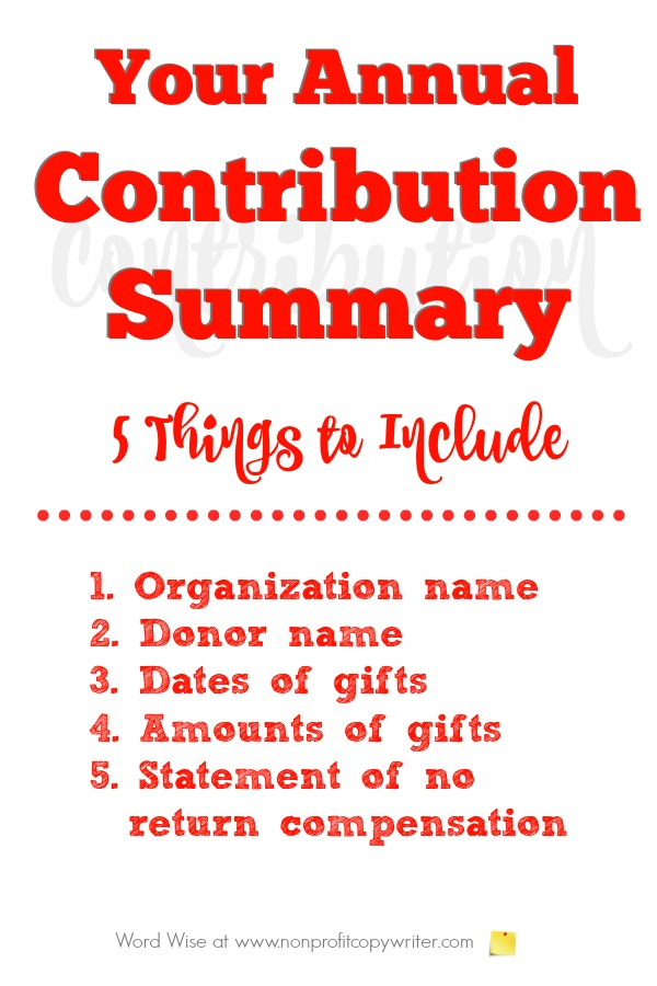 Annual contribution summary letter - 5 pieces of information you need to be sure you include. Word Wise at Nonprofit Copywriter