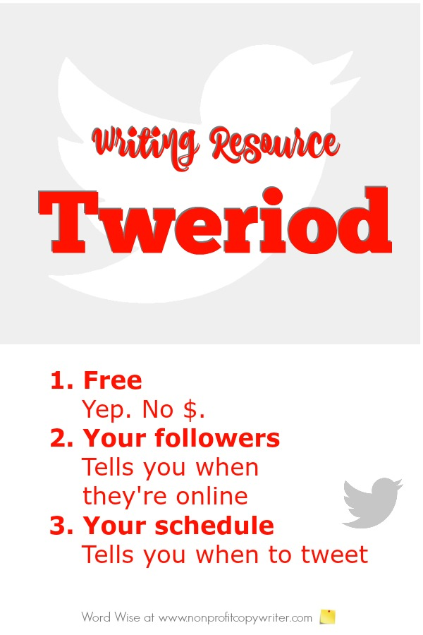 Writing resource: Tweriod. Find out best times to write tweets. With Word Wise at Nonprofit Copywriter