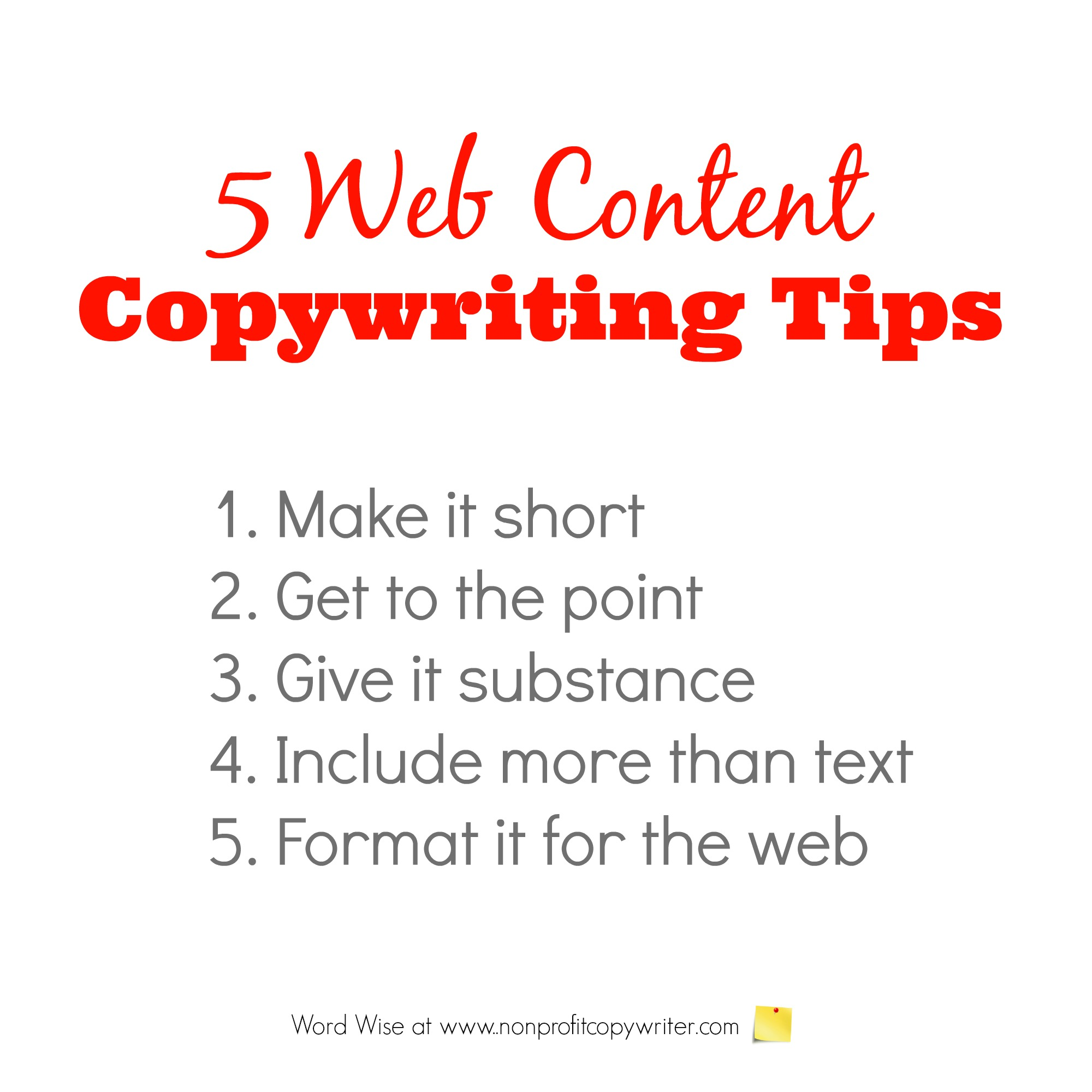 5 Web Content Copywriting Tips with Word Wise at Nonprofit Copywriter