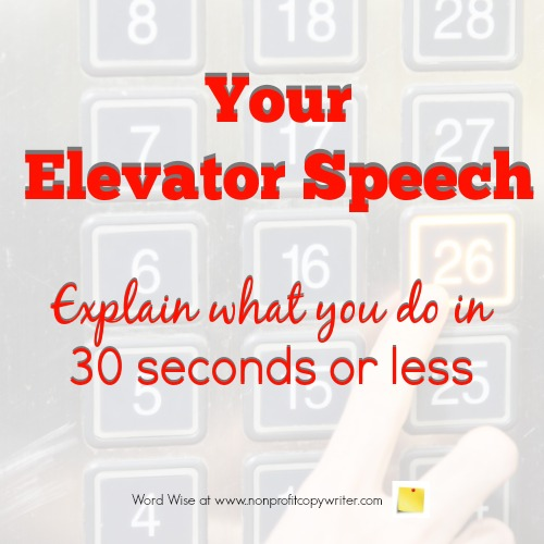How to write your elevator speech with Word Wise at Nonprofit Copywriter