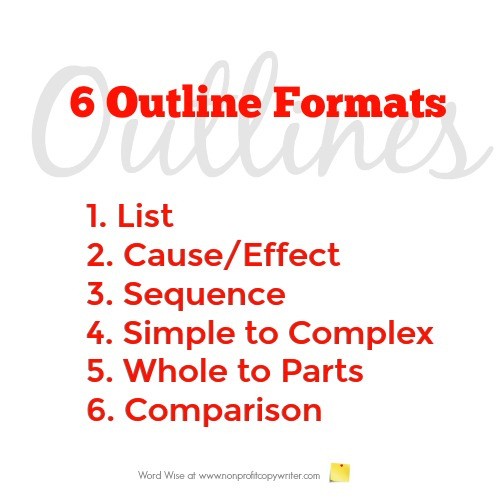 6 outline formats to choose from when you write an outline with Word Wise at Nonprofit Copywriter