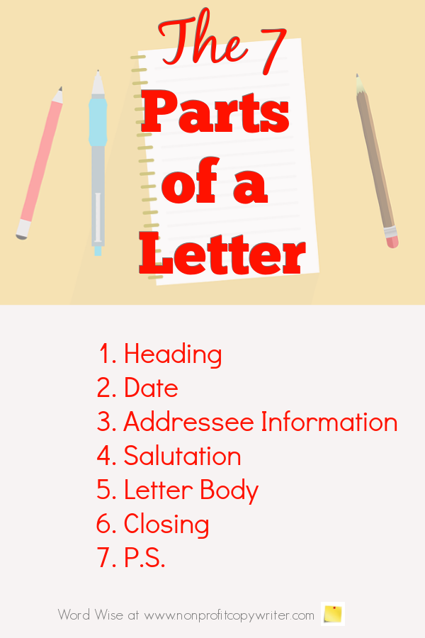 The 7 parts of a letter with Word Wise at Nonprofit Copywriter #WritingTips #FreelanceWriting