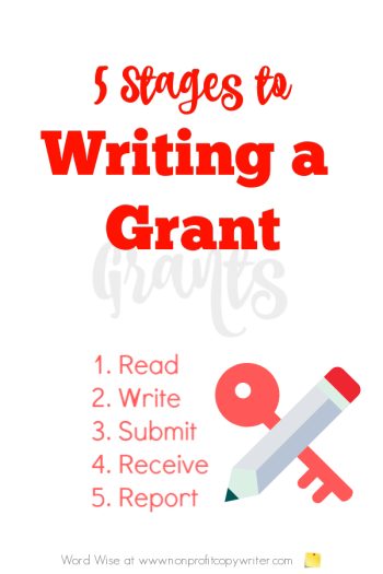 5 stages to writing a grant with Word Wise at Nonprofit Copywriter #GrantWriting #nonprofits #WritingTips