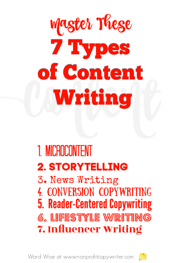 7 different types of content writing with Word Wise at Nonprofit Copywriter #FreelanceWriting #Copywriting #ContentWriting