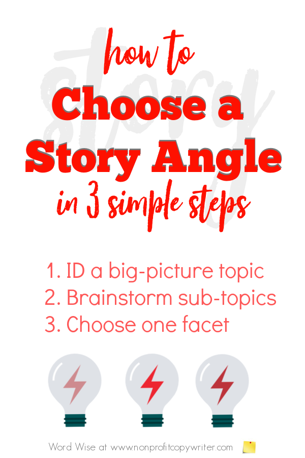 Choose a story angle in 3 simple steps with Word Wise at Nonprofit Copywriter #WritingTips #WritingArticles #FreelanceWriting
