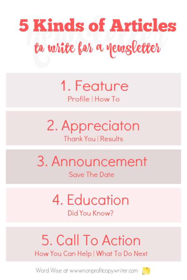 5 kinds of articles to write for a newsletter with Word Wise at Nonprofit Copywriter #FreelanceWriting #WritingTips