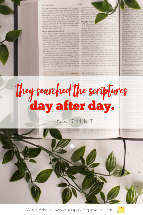 The Search Engine: a #devotional for #writers based on Acts 17:11 with Word Wise at Nonprofit Copywriter #ChristianWriting #FreelanceWriting