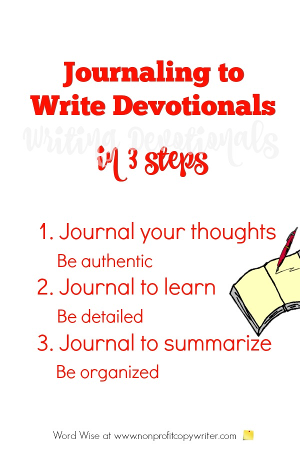 Use journaling to write devotionals for your blog or ministry. #FreelanceWriting #WritingTips #ChristianWriting with Word Wise at Nonprofit Copywriter