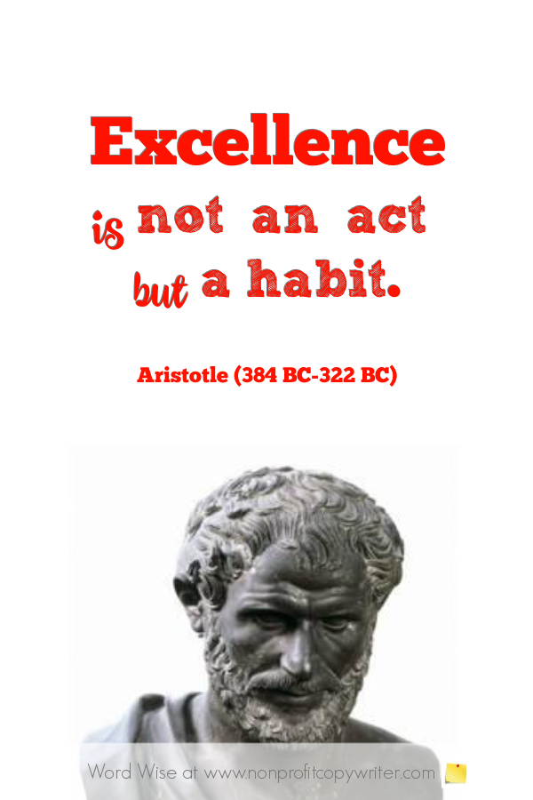 Excellence: quotes from Aristotle, MLK, more with Word Wise at Nonprofit Copywriter #WritingTips