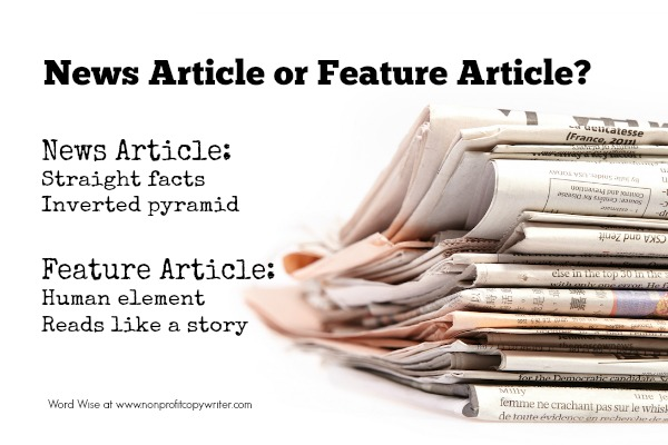 News article and feature article: what's the difference? With Word Wise at Nonprofit Copywriter