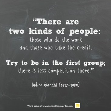 Indira Gandhi and other wise words about work ethic from Word Wise at Nonprofit Copywriter