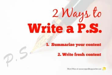 2 ways to write a PS with Word Wise at Nonprofit Copywriter