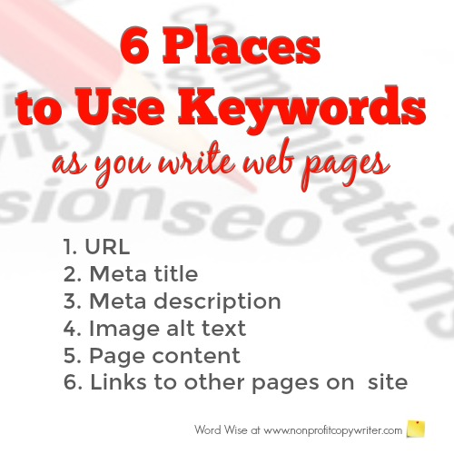 6 places to use keywords with Word Wise at Nonprofit Copywriter
