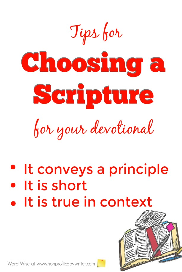 How to choose a scripture for your devotional with Word Wise at Nonprofit Copywriter