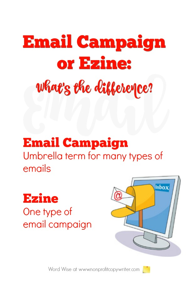 An email campaign versus an ezine: what's the difference? As a freelancer, blogger, or content writer, you'll be called upon to write both. #WritingTips with Word Wise at Nonprofit Copywriter
