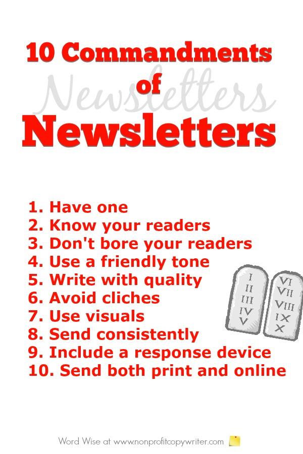 10 Commandments of writing newsletters. Great for entrepreneurs, freelancers, ministries. With Word Wise at Nonprofit Copywriter