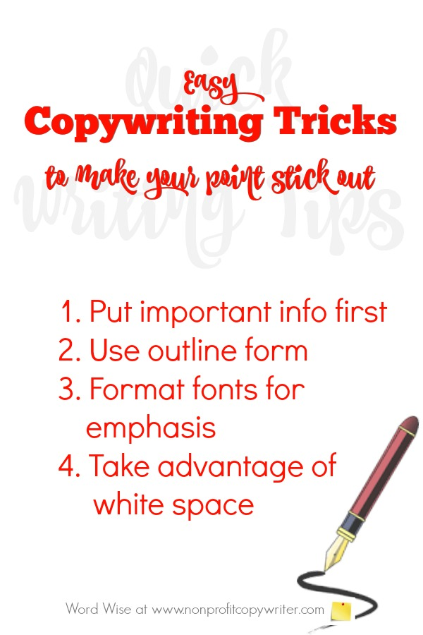 Use these easy copywriting tricks to make your point stick out with Word Wise at Nonprofit Copywriter #WritingTips #Freelancing #ContentWriting
