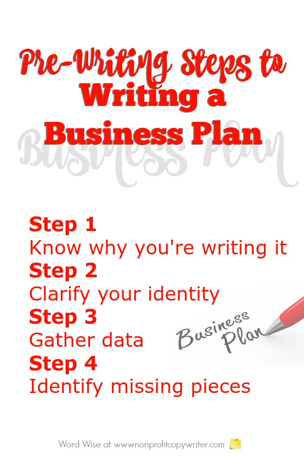 Use these pre-writing steps to writing a business plan with Word Wise at Nonprofit Copywriter