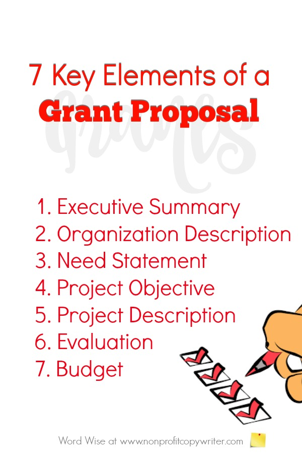 Grant Writing Made Simple: 7 keys elements of a grant proposal for writing grants with Word Wise at Nonprofit Copywriter #WritingTips