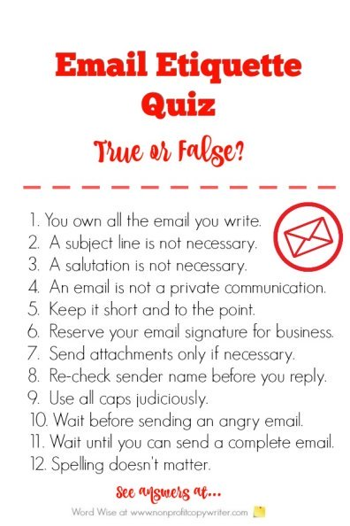 Take this Email Etiquette Quiz for email #WritingTips with Word Wise at Nonprofit Copywriter