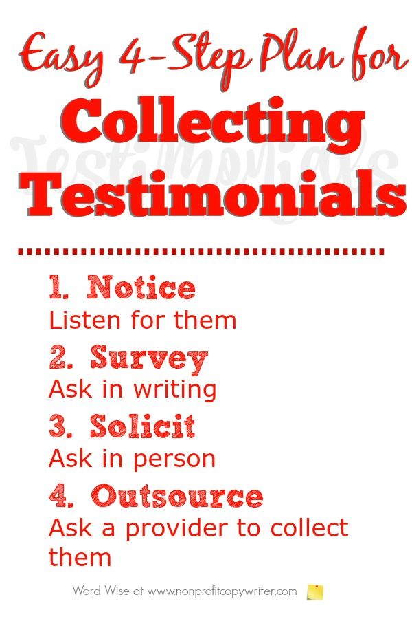 Easy 4-Step Plan for Collecting Testimonials from Word Wise at Nonprofit Copywriter