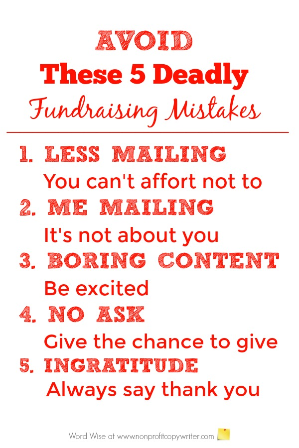 Avoid these 5 deadly fundraising writing mistakes with Word Wise at Nonprofit Copywriter