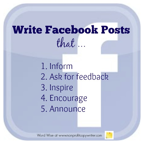 5 kinds of Facebook posts for nonprofits with Word Wise at Nonprofit Copywriter