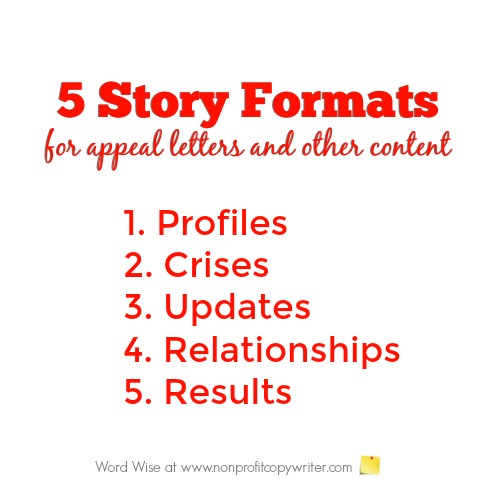 5 story formats for appeals and other content with Word Wise at Nonprofit Copywriter
