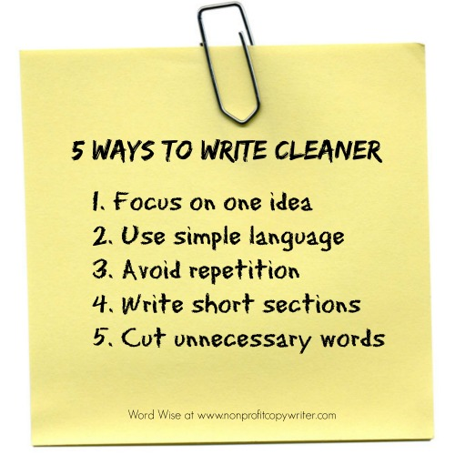 5 ways to write cleaner for better results with Word Wise at Nonprofit Copywriter
