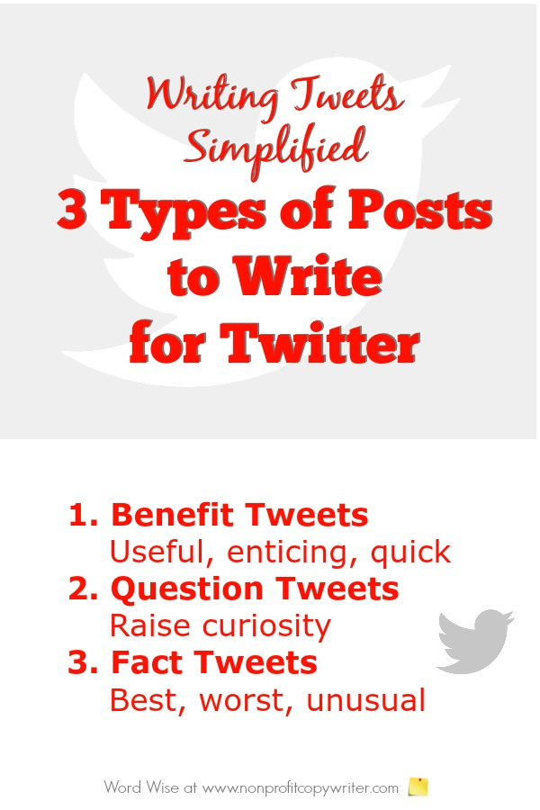 Tips for writing 3 types of Twitter posts with Word Wise at Nonprofit Copywriter