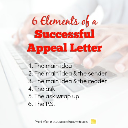 6 elements of a successful appeal letter with Word Wise at Nonprofit Copywriter