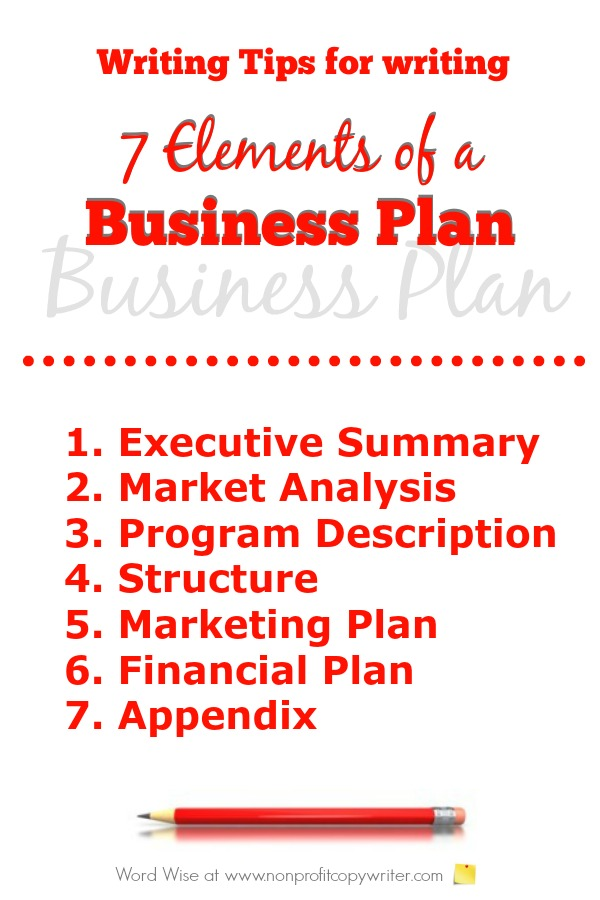 Writing tips for writing 7 elements of a business plan with Word Wise at Nonprofit Copywriter. Great for freelancers, small business owners, entrepreneurs